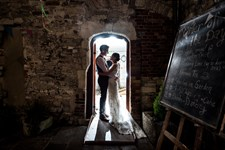 Scaplen's Court Wedding - Courtyard doorway at night.jpg