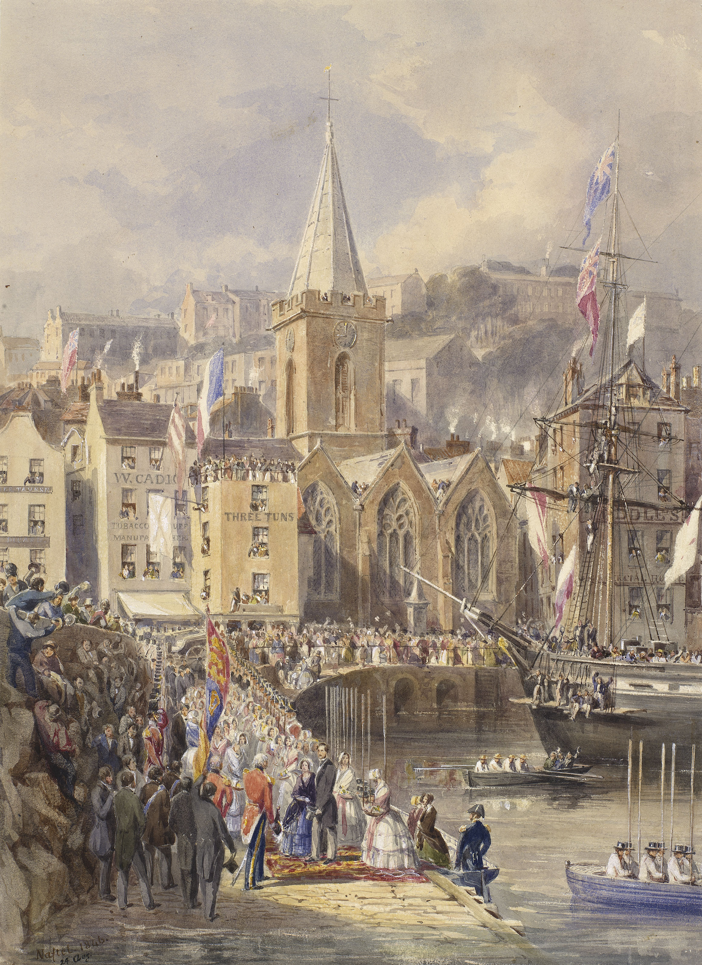 Painting of Queen Victoria and Prince Albert landing at St Pierre, Guernsey